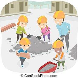 dzieciaki, stickman, pomoc, służba, współposiadanie, nauczyciel