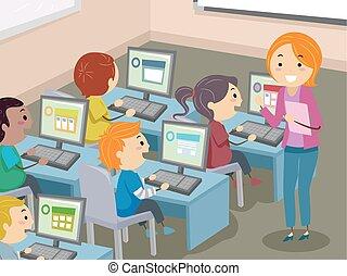 dzieciaki, stickman, pracownia, ilustracja, komputer