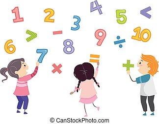 dzieciaki, stickman, takty muzyczne, matematyka