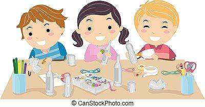 dzieciaki, stickman, ustalać, ilustracja, upcycle, sztuka