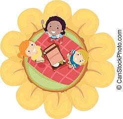 dzieciaki, stickman, wiosna, ilustracja, kwiat, piknik