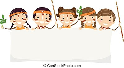 dzieciaki, stickman, yabun, święto, australijski, chorągiew