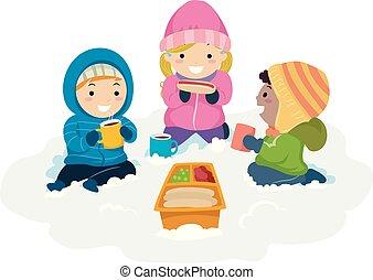 dzieciaki, stickman, zima, śnieg, ilustracja, piknik