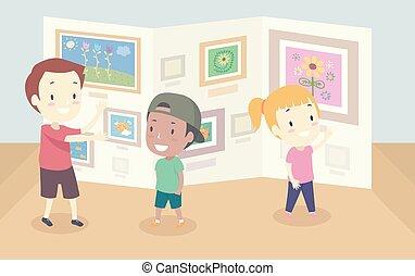 dzieciaki, sztuka galeria, ilustracja, chód