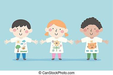 dzieciaki, sztuka, nosić, ilustracja, koszule