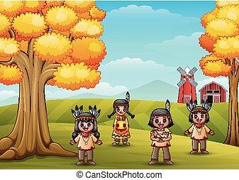 dzieciaki, zagroda, amerykański indianin, tło, rysunek, krajowiec