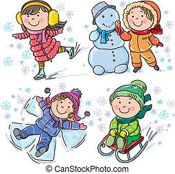 dzieciaki, zima