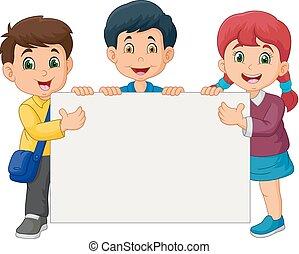 dzieciaki, znak, dzierżawa, czysty, rysunek, szczęśliwy