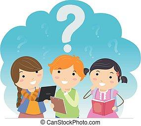 dzieciaki, znaki, myśleć, pytanie, stickman, student