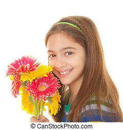 dziecko, kwiaty, grono