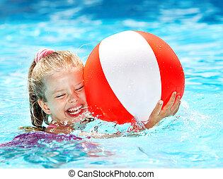 dziecko, pływacki, pool.