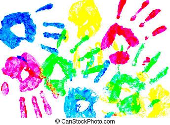 dziecko, ręka, barwny, odciski