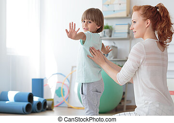dziecko, sesja, fizykoterapia, podczas