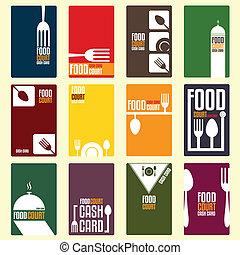 dziedziniec, card., jadło, menu, gotówka, ilustracja, wektor