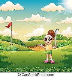 dziedziniec, dziewczyna, golf, interpretacja