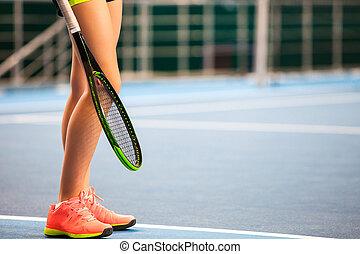 dziedziniec, tenis, młody, zamknięty, rakieta, dziewczyna, nogi