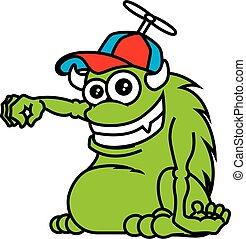 dzierżawa, cap., chodząc, zielony, róg, wektor, rysunek, sprytny, pose., halloween, ilustracja, potwór, ręka