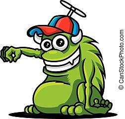 dzierżawa, cap., chodząc, zielony, róg, wektor, zabawka, rysunek, sprytny, pose., illustration., potwór, dzieciaki, ręka, -