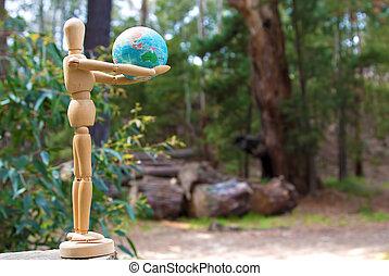 dzierżawa, człowiek, kula, drewniany, deforestation, figura, lalka, australia, pojęcie, ziemia