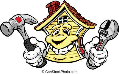 dzierżawa, dom, naprawa, narzędzia, szczęśliwy