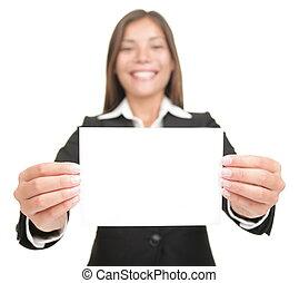 dzierżawa, karta, czysty, kobieta interesu, znak, opróżniać, handlowy