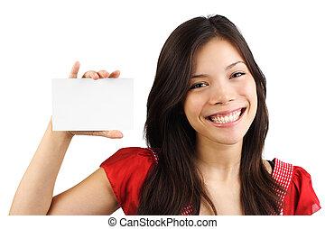 dzierżawa, karta, okienko znaczą, biały, kobieta, /