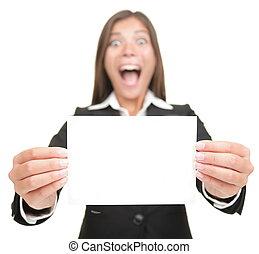 dzierżawa, karta, okienko znaczą, kobieta, opróżniać, handlowy, podniecony