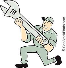 dzierżawa, klęczący, szarpnąć, mechanik, klucz do nakrętek, rysunek