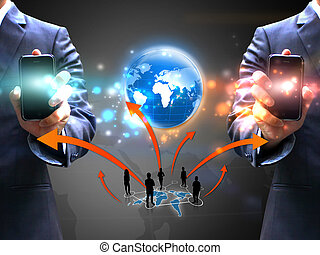 dzierżawa, ludzie handlowe, sieć, towarzyski