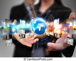 dzierżawa, ludzie handlowe, towarzyski, media