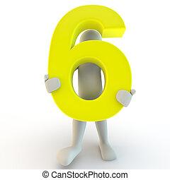 dzierżawa, ludzie, litera, liczba, żółty, sześć, ludzki, mały, 3d