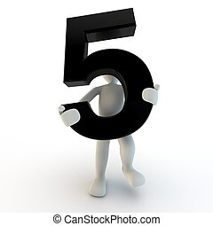 dzierżawa, ludzie, litera, liczba 5, czarnoskóry, ludzki, mały, 3d