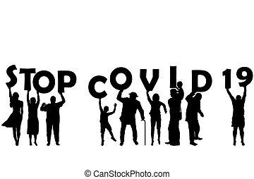dzierżawa, mężczyźni, beletrystyka, kobiety, covid, zatrzymywać, dzieci, (coronavirus), 19, sylwetka