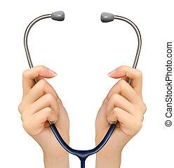 dzierżawa, medyczny, tło, vector., siła robocza, stethoscope.