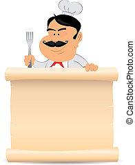 dzierżawa, mistrz kucharski, pergamin, kok, menu