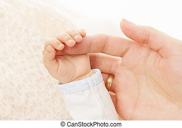 dzierżawa, nowo narodzony, rodzic, niemowlę, palec, ręka
