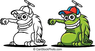 dzierżawa, obraz, cap., szkic, chodząc, róg, wektor, zielony, rysunek, sprytny, pose., illustration., odwołanie, potwór, kolorowanie, ręka, set.