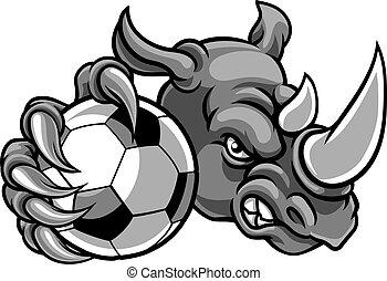 dzierżawa piłka nożna, piłka, piłka nożna, nosorożec, maskotka