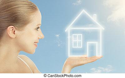 dzierżawa ręka, dom, mortgage., mieszkaniowy, kobieta, pojęcie
