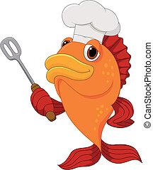 dzierżawa ryba, mistrz kucharski, sprytny, rysunek, sztylpa