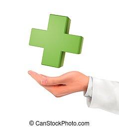 dzierżawa, symbol, medyczny, ręka, 3d