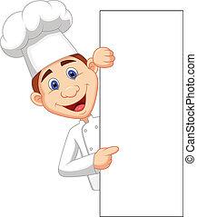 dzierżawa, szczęśliwy, mistrz kucharski, czysty, rysunek, si