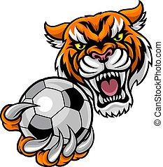 dzierżawa, tiger, piłka, piłka nożna, maskotka