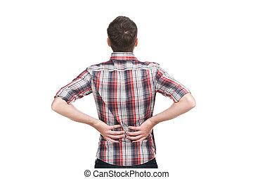 dzierżawa, zbolały, back., młody mężczyzna, ból, because, jego, nazad ręka, niższy