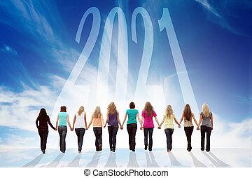 dziewczę, szczęśliwy, ręka, dziesięć, nowy, ku, 2021., pieszy