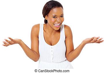 dziewczyna, śmiech, afrykanin
