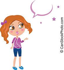 dziewczyna, bańka, supergwiazda filmowa, (, sprytny, ), mowa, szkoła
