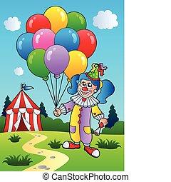 dziewczyna, balony, klown, namiot