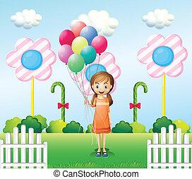 dziewczyna, balony, ogród, dzierżawa