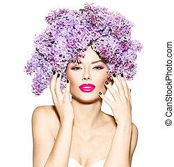 dziewczyna, bez, kwiaty, fryzura, wzór, fason, piękno